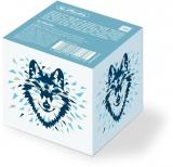 Bloc notite alb, 700 file, 8 x 8 x 7 cm, cu suport de carton, Wild Animals Wolf Herlitz