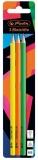 Creioane grafit triunghiulare, HB, Neon Art 3 buc/set Herlitz