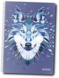 Caiet cu spira A5, 100 file, matematica, coperta tare, Wild Animals Wolf Herlitz