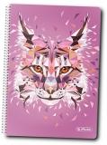 Caiet cu spira A5, 100 file, matematica, coperta tare, Wild Animals Lynx Herlitz