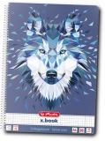 Caiet cu spira A4, 80 file, matematica, liniat dublu, perforat Wild Animals Wolf Herlitz