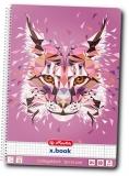 Caiet cu spira A4, 80 file, matematica, liniat dublu, perforat Wild Animals Lynx Herlitz