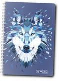 Caiet cu spira 10 x 14 cm, 200 file, matematica, Wild Animals Wolf Herlitz