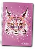 Caiet cu spira 10 x 14 cm, 200 file, matematica, Wild Animals Lynx Herlitz