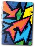 Caiet cu spira A5, 100 file, matematica, coperta tare, Neon Art Herlitz