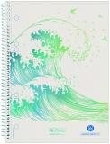 Caiet cu spira A5, 70 file, 80g/mp, matematica, Wave Greenline Herlitz