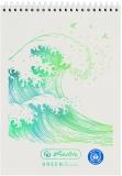 Bloc notes A7, 50 file, cu spira, 80g/mp, matematica, Wave Greenline Herlitz
