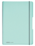 Caiet A4 My.Book Flex 2x40 file dictando+patratele turcoaz transparent cu logo alb Herlitz