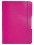 Caiet A5 My.Book Flex patratele 40 file fucsia cu elastic violet Herlitz