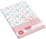 Caiet A4, 80 file, 70g/mp, dictando, Flamingo Herlitz