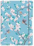 Caiet My.book Flex A4, 2 x 40 file, dictando + patratele, Ladylike Birds, elastic gri Herlitz