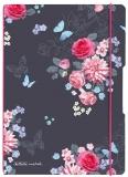 Caiet My.book Flex A4, 2 x 40 file, dictando + patratele, Ladylike Flowers, elastic roz Herlitz