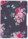 Caiet My.book Flex A5, 40 file, patratele, Ladylike Flowers, elastic roz Herlitz
