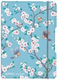 Caiet My.book Flex A6, 40 file, patratele, Ladylike Birds, elastic gri Herlitz