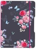 Caiet My.book Flex A6, 40 file, patratele, Ladylike Flowers, elastic roz Herlitz