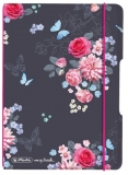 Caiet My.book Flex A6, 40 file, dictando, Ladylike Flowers, elastic roz Herlitz