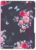 Caiet My.book Flex A6, 40 file, dictando, Ladylike Flowers, elastic roz Herlitz