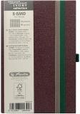 Caiet cu elastic Ivory B-Band 9 x 14 cm 192 pag, patratele, coperta PU, visiniu Herlitz