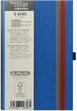 Caiet cu elastic Ivory B-Band 9 x 14 cm 192 pag, patratele, coperta PU, bleu Herlitz