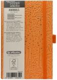 Caiet cu elastic Ivory Animals 9 x 14 cm 192 pag, patratele, coperta PU, portocaliu, Giraffe Herlitz