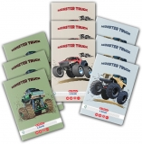 Caiet A5, 48 file, 70g/mp, matematica, colturi rotunjite, Monster Truck, 10 buc/set Herlitz