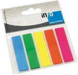 Index din plastic 12 x 50 mm 5 culori neon 125 file Info Notes