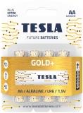 Baterie alcalina LR6 (AA) Gold+, 1.5V, 4 buc/blister Tesla