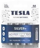 Baterie alcalina LR6 (AA) Silver+, 1.5V, 4 buc/blister Tesla