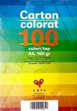 Carton colorat A4, 10 culori, 160 gr, 100 coli/set Exte