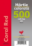 Hartie colorata A5 Coral Red 80 gr 500 coli/top EXTE