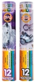 Set 12 creioane color in cilindru metal Koh-I-Noor