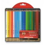Creioane colorate Aquarell Mondeluz, cutie metal, landscape, 24 culori/set Koh-I-Noor