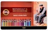 Creioane colorate Aquarell Mondeluz, cutie metal, 36 culori/set Koh-I-Noor
