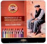 Creioane colorate Aquarell Mondeluz, cutie metal, 48 culori/set Koh-I-Noor
