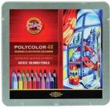 Creioane colorate Polycolor, cutie metal, 48 culori/set Koh-I-Noor