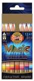 Set 12 creioane natur triunghiulare Magic Jumbo