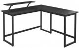 Birou in forma de L cu suport pentru monitor mobil, design industrial, negru, Vasagle