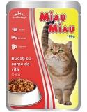 Pliculete cu carne de vita in sos 100 g Miau-Miau