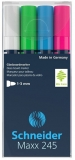 Marker pentru sticla Maxx 245 Set 1, 4 culori/set Schneider