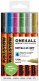 Marker cu vopsea acrilica, varf rotund, 2 mm, ONE4ALL 127HS Metallic 6 culori/set Molotow