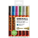 Marker cu vopsea acrilica, varf rotund, 4 mm, ONE4ALL 227HS Metallic 6 culori/set Molotow