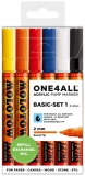 Marker cu vopsea acrilica, varf rotund, 2 mm, ONE4ALL 127HS Basic 6 culori/set Molotow