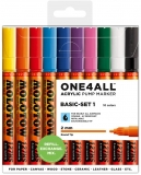 Marker cu vopsea acrilica, varf rotund, 2 mm, ONE4ALL 127HS Basic 10 culori/set Molotow