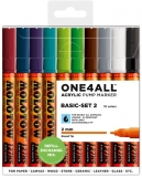 Marker cu vopsea acrilica, varf rotund, 2 mm, ONE4ALL 127HS Basic 2, 10 culori/set Molotow