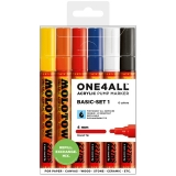 Marker cu vopsea acrilica, varf rotund, 4 mm, ONE4ALL 227HS Basic 6 culori/set Molotow