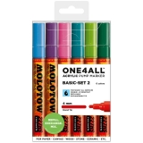 Marker cu vopsea acrilica, varf rotund, 4 mm, ONE4ALL 227HS Basic 2, 6 culori/set Molotow