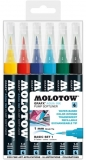 Marker caligrafic, varf tip pensula, 1 mm, Aqua Ink Pump Softliner Basic 6 culori/set Molotow