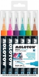 Marker caligrafic, varf tip pensula, 1 mm, Aqua Ink Pump Softliner Basic 2, 6 culori/set Molotow