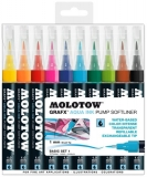 Marker caligrafic, varf tip pensula, 1 mm, Aqua Ink Pump Softliner Basic, 10 culori/set Molotow
