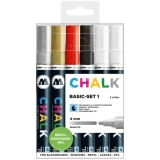 Marker creta lichida, varf rotund, 4 mm, Chalk Marker Basic, 6 culori/set Molotow